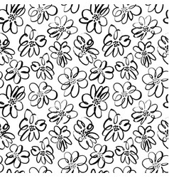 hand drawn brush black flowers seamless pattern vector image