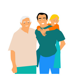 happy family grandfather father and daughter vector image
