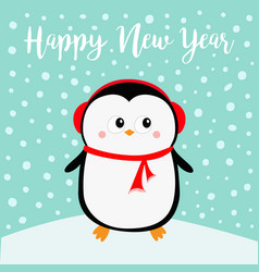 happy new year penguin on snowdrift red vector image