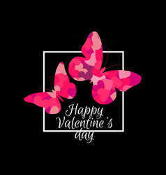 happy valentines day butterflies and frame vector image