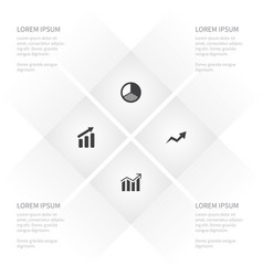 Icon chart set of progress report increase and vector