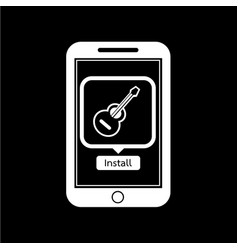 icon of smart phone mobile music application vector image