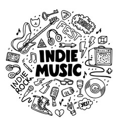 Indie rock circle composition black and white vector