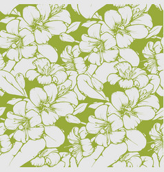 Lemon blossom drawing seamless pattern vector