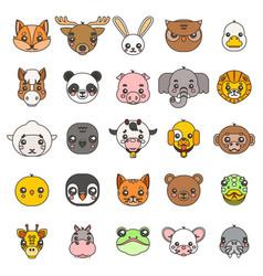 Line art animals cute bacartoon cubs flat vector