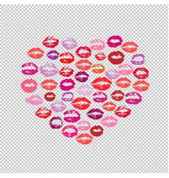 lipstick kiss print heart transparent background vector image