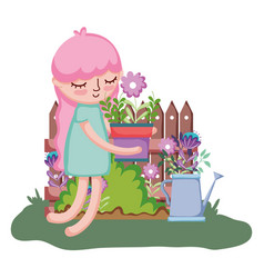 little girl lifting houseplant with sprinkler and vector image