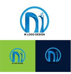 M letter logo template design vector