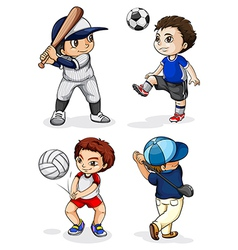 Male kids engaging in different activities vector
