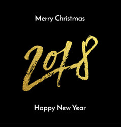 merry christmas 2018 happy new year golden vector image