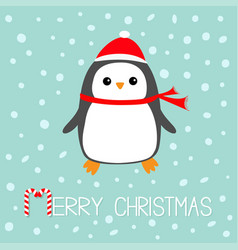 Merry christmas candy cane text kawaii penguin vector