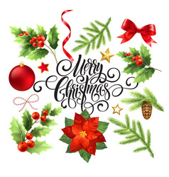 merry christmas design elements set vector image