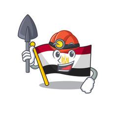 Miner flag egypt folded in mascot cupboard vector