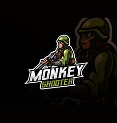 monkey warrior mascot vector image