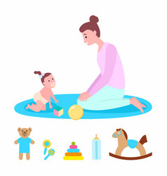 mother playing with kid mom and child with toys vector image