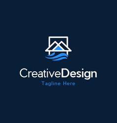 Mountain water creative business logo vector