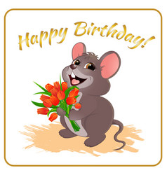 Mouse with flowers vector