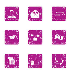 Msg icons set grunge style vector