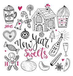 New year sweets set christmas hand drawn vector