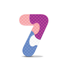 number 7 written with alphabet puzzle vector image