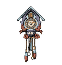 Old cuckoo clock vector