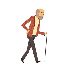 Old man walks with a cane cartoon vector