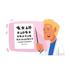 ophthalmologist doctor doing eyesight test vector image