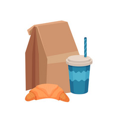 Paper bag with school lunch fresh croissant and vector