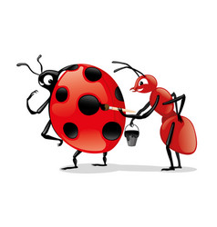 red ant and ladybug vector image