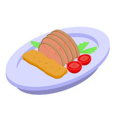 Restaurant meat dish icon isometric style vector