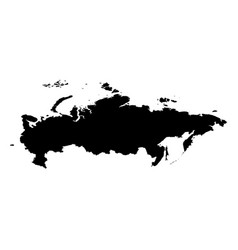 russia - solid black silhouette map of country vector image