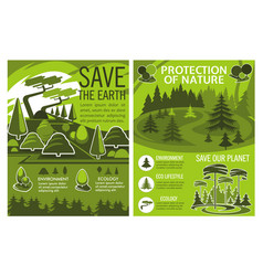 save earth poster of eco or environment protection vector image