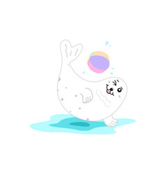 Seal playing ball water splash concept cartoon vector