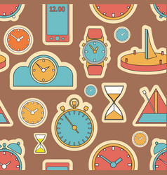 Seamless pattern composed of images hours vector