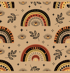 Seamless pattern with bohemian rainbow and eye vector