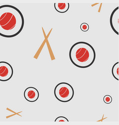 Seamless pattern with sushi and chopsticks vector