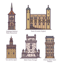 set isolated medieval towers europe vector image