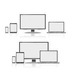 Set of realistic computer monitors laptops vector