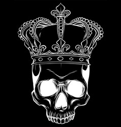 Skull and crown in black background vector