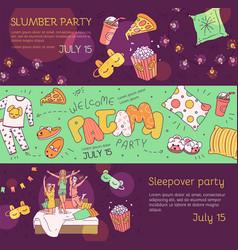 slumber pajama party banner set - cartoon girls vector image