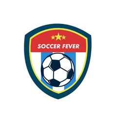 soccer fever simple vintage shield footbal emblem vector image