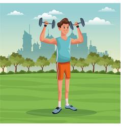Sport man lifestyle park city background vector