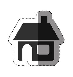 Sticker of black silhouette of house with chimney vector