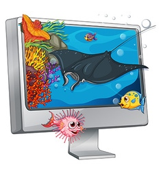 Stingray swimming on computer screen vector