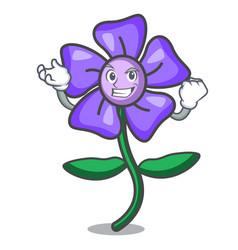 Successful periwinkle flower character cartoon vector