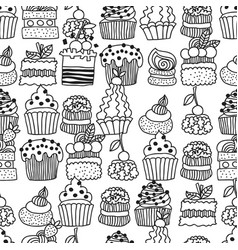 Sweet cakes cupcakes black and white seamless vector