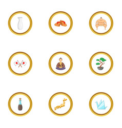 Tokio icons set cartoon style vector