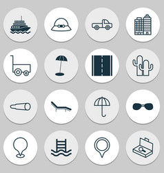 tourism icons set with summer hat motor ship vector image