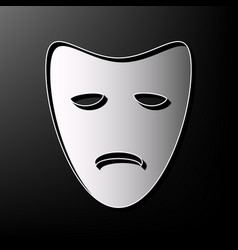 Tragedy theatrical masks gray 3d printed vector