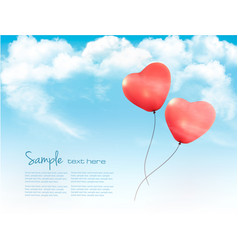 Valentine heart-shaped baloons in a blue sky with vector